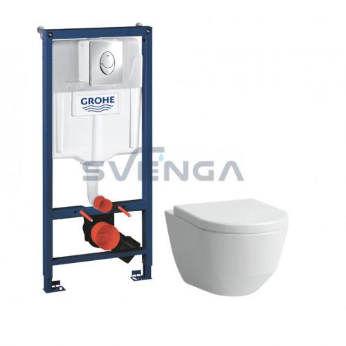 Grohe SL WC potinkinis rėmas 5 in 1 su Laufen Pro New pakabinamu klozetu ir lėtaeigiu dangčiu