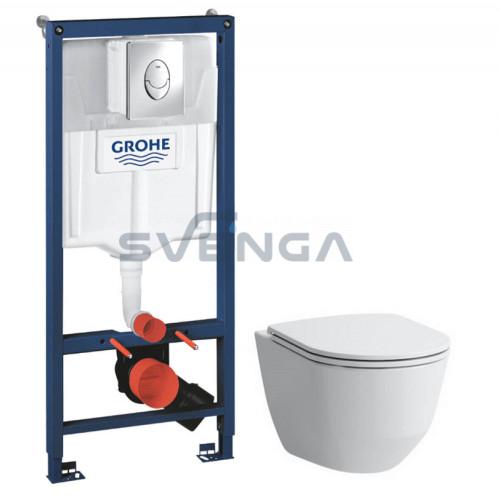 Grohe SL WC potinkinis rėmas 3 in 1 su Laufen Pro New pakabinamu klozetu ir lėtaeigiu dangčiu