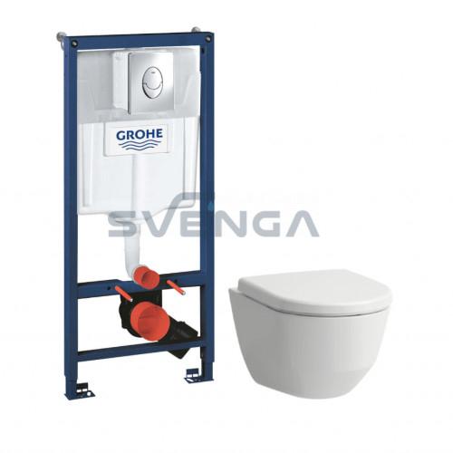 Grohe Rapid SL WC potinkinis rėmas 3 in 1 su Laufen Pro Rimless pakabinamu klozetu ir lėtaeigiu dangčiu