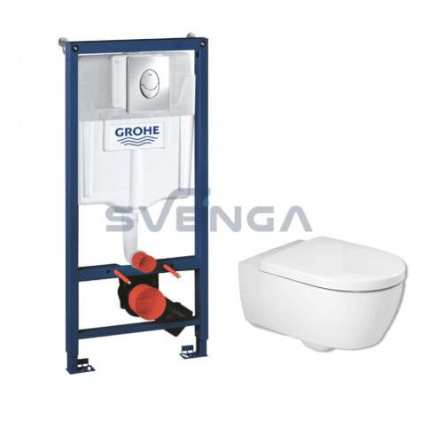 Grohe Rapid SL WC potinkinis rėmas 3 in 1 su IFO iCon Rimfree pakabinamu klozetu ir lėtaeigiu dangčiu