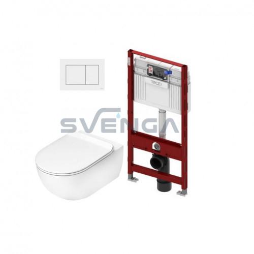 Tece potinkinis rėmas su TeceNow vandens nuleidimo mygtukas ir Laufen Pro pakabinamu klozetu su plonu lėtaeigiu dangčiu