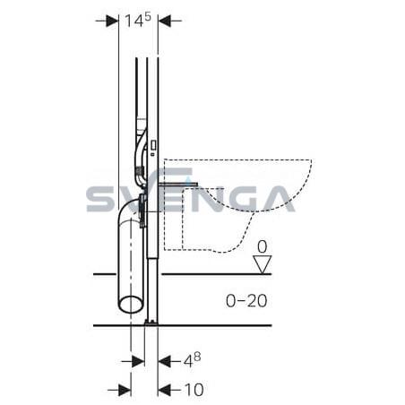 Geberit Duofix 8 cm potinkinis klozeto rėmas su tvirtinimais