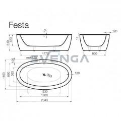 Vispool Festa 2040x1100mm lieto akmens vonia