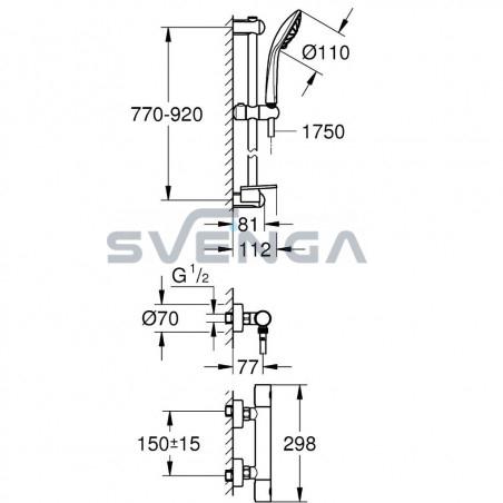 Grohe Grohtherm 1000 Cosmopolitan M termostatinis dušo maišytuvas su dušo stovu 34321002