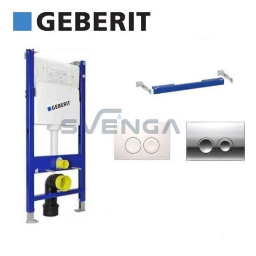 Geberit Duofix Basic potinkinis klozeto rėmas su baltu arba chromuotu vandens nuleidimo mygtuku