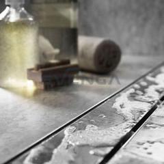 ACO Tile dušo latakas su įklijuojama plytele ir horizontaliu flanšu