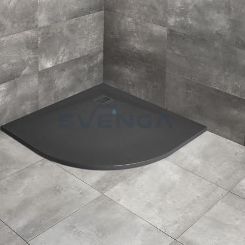 Radaway Kyntos A anthracite pusapvalis lieto akmens dušo padėklas