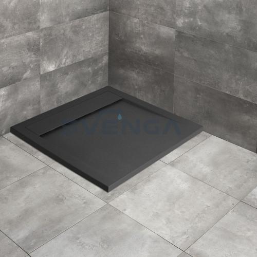 Radaway Teos C anthracite kvadratinis lieto akmens dušo padėklas