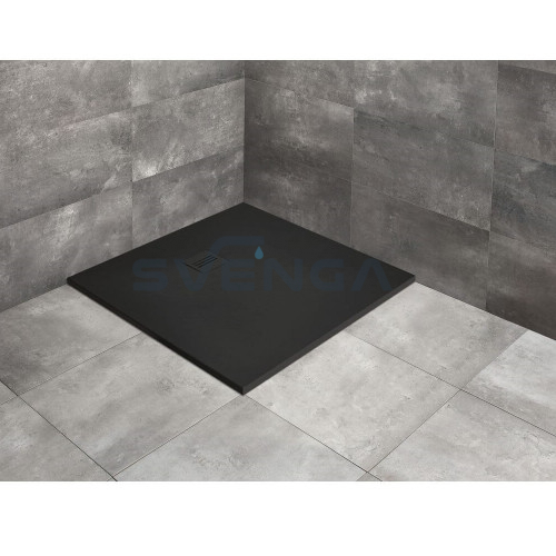 Radaway Kyntos C Black kvadratinis lieto akmens dušo padėklas