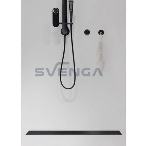 ACO Showerdrain C juodas dušo latakas su horizontale junge