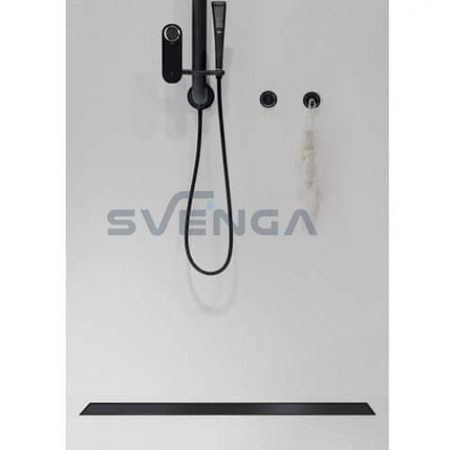 ACO Showerdrain C juodas dušo latakas su vertikale junge