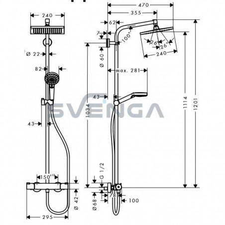 Hansgrohe Crometta E 240 1jet termostatinė dušo sistema