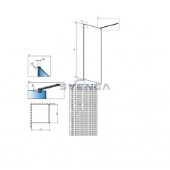 Radaway Modo New Black II stabili dušo sienelė 150 cm