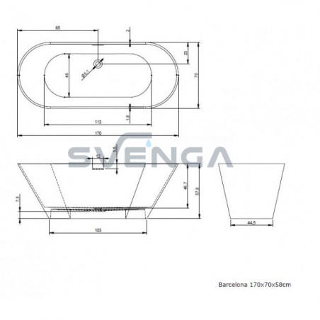 RIHO BARCELONA lieto akmens pastatoma vonia 170x70 cm