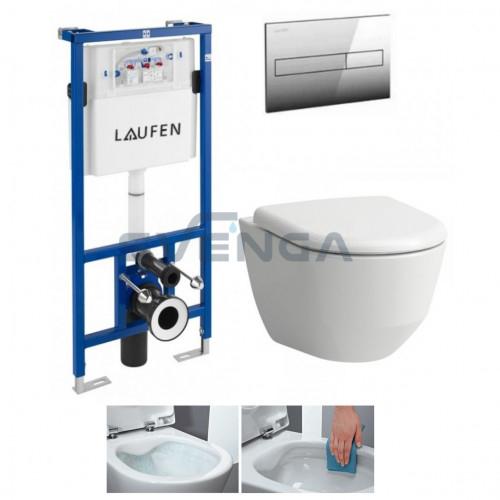 Laufen LIS CW1 potinkinis rėmas su pakabinamu klozetu Laufen Pro New Rimless ir lėtaeigiu dangčiu