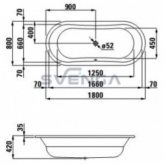 Laufen Thalium Oval plieninė vonia 1800x800