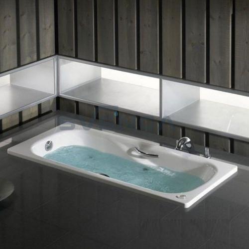 Roca Princess-N plieninė vonia su chromuotomis rankenėlėmis ir neslystančiu paviršiumi