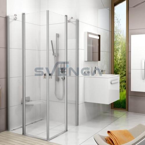Ravak Brilliant CRV2 + CRV2 kvadratinė dušo kabina su kampiniu įėjimu.