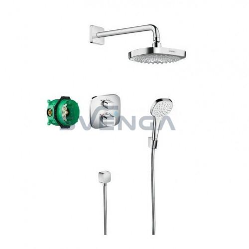 Hansgrohe Croma Select E potinkinis dušo komplektas su termostatiniu maišytuvu