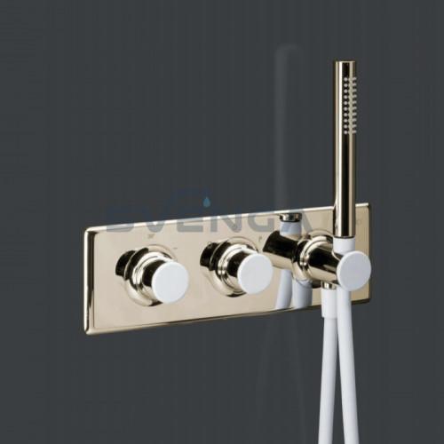 Alpi Fred FD93L163D termostatinis potinkinis dušo maišytuvas su baltais dekoratyviniais dangteliais