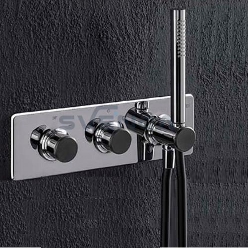 Alpi Fred FD93L163D termostatinis potinkinis dušo maišytuvas su juodais dekoratyviniais dangteliais