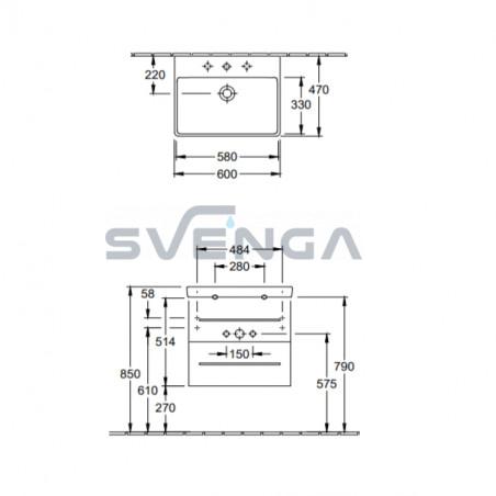 Villeroy & Boch Avento 567x447xH520 praustuvas su dviejų stalčių spintele