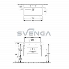 Villeroy & Boch Avento 760x447xH520 praustuvas su dviejų stalčių spintele
