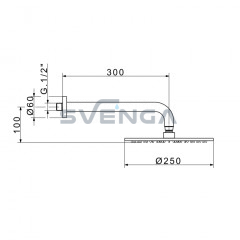 Flexdoccia Energy 963/25 dušo galva su laikikliu 30 cm
