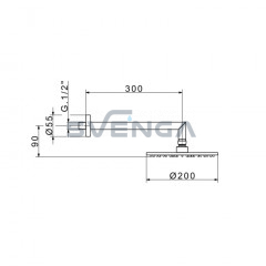 Flexdoccia Energy 646/20 dušo galva su laikikliu 30 cm