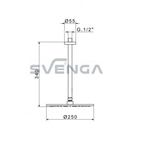 Flexdoccia Energy 647/25 dušo galva su laikikliu 30 cm